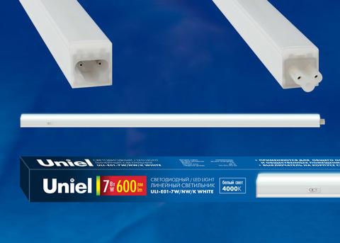 ULI-E01-10W/NW/K WHITE Светильник линейный светодиодный (аналог T5), c выключателем. Белый свет (4000K). 850Лм. Корпус белый. ТМ UNIEL.