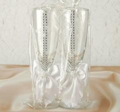 Набор свадебных бокалов «Элит», с бантом и стразами, белые, фото 2
