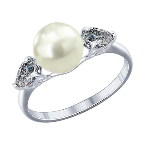 94011763 - Кольцо из серебра с жемчугом