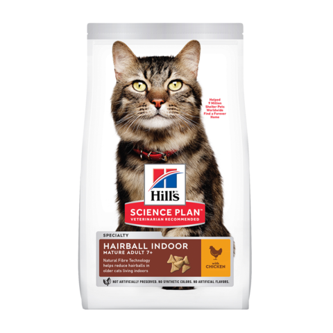 Hill's Science Plan Mature Adult 7+ Hairball Indoor Сухой корм для  пожилых домашних кошек для выведения шерсти из желудка с Курицей