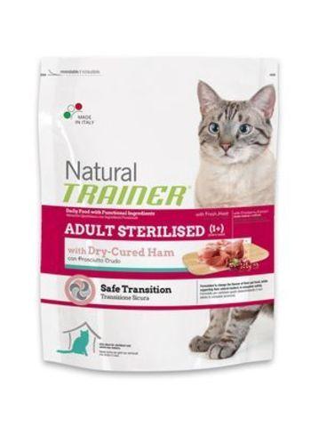 Trainer Сухой Корм Natural Adult Sterilised для взрослых кастрированных кошек с сыровялиной ветчиной 1,5 кг.