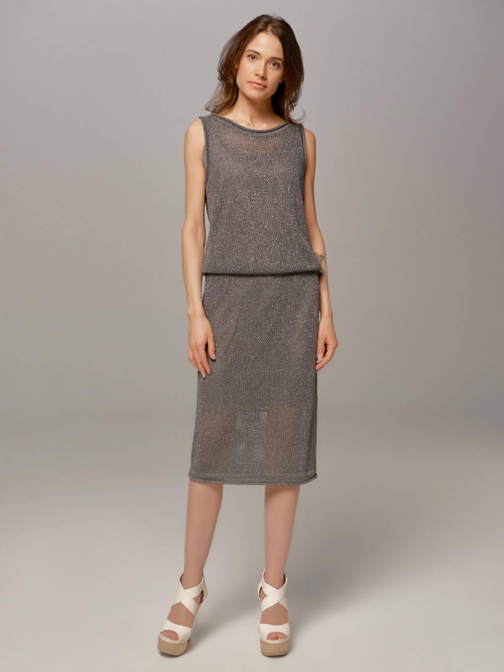 Женское темно-серое платье LE TRICOT - фото 1