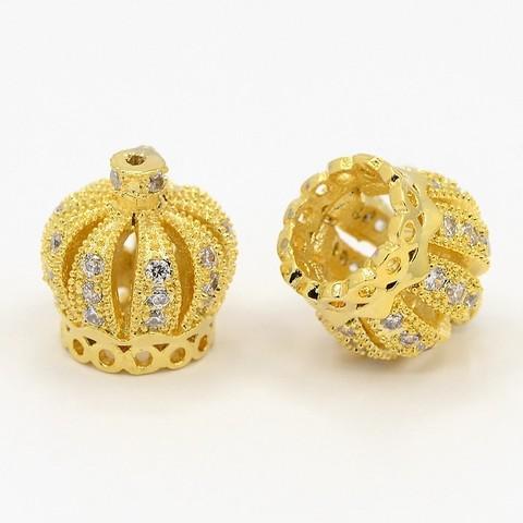 Бусина подвеска корона малая c цирконами 11 х 10 мм цвет золото