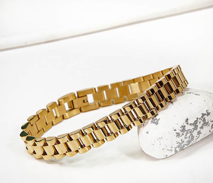 BM341-2 Классический браслет из стали золотистого цвета фото 06