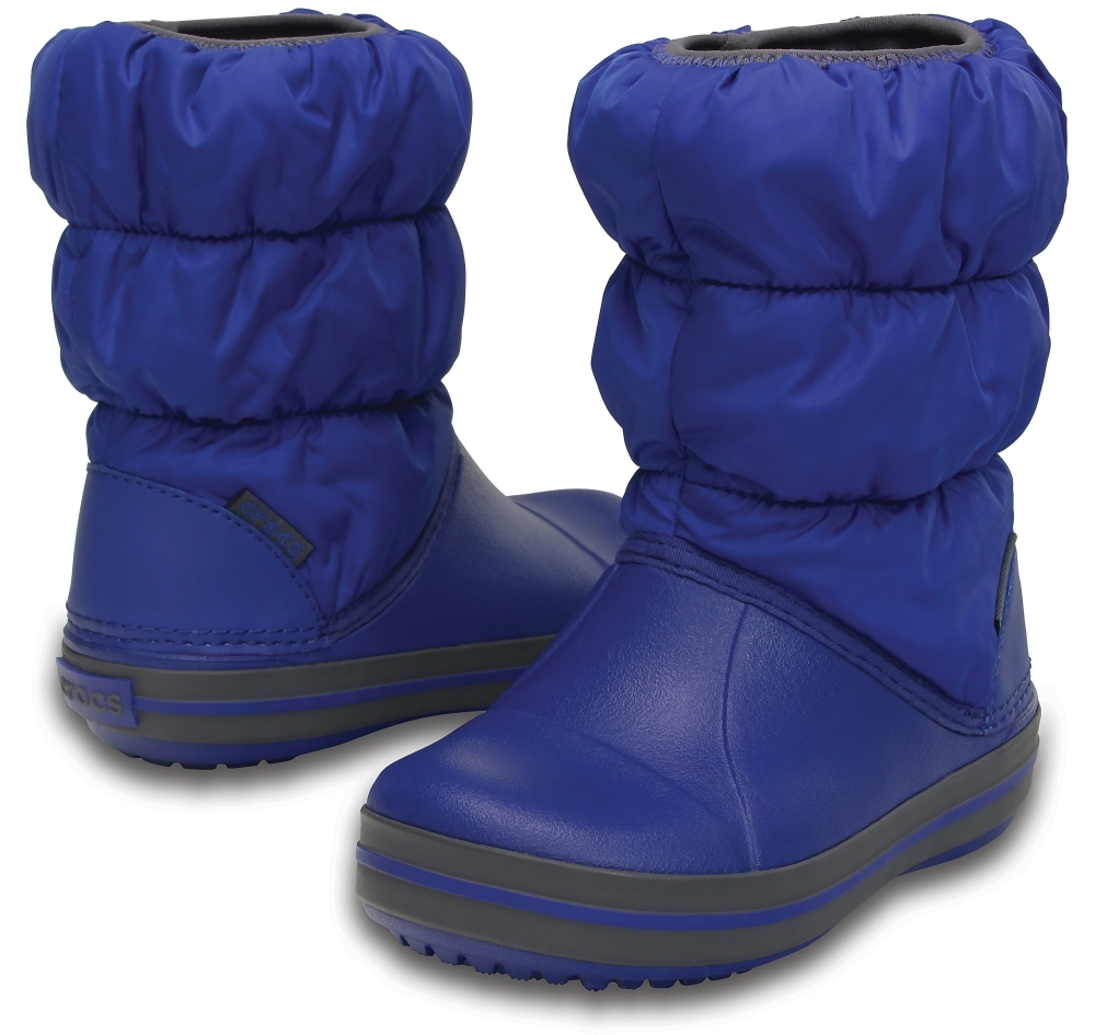 Зимние детские сапожки Crocs Winter Puff Boot Kids Cerulean Blue/Light Grey фото