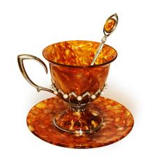 """Чашка для чая с блюдцем и ложечкой, янтарь, жемчуг серия """"Императорская"""""""