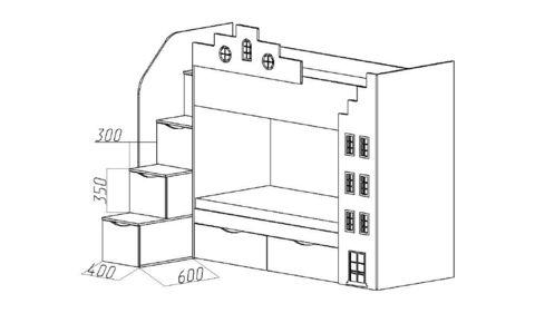 Двухъярусная кровать-домик рзмеры