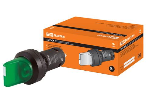 Переключатель на  3 положения с фиксацией SB7-CK3365-24V короткая ручка(LED) d22мм 1з+1р зеленый TDM