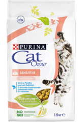 Purina Cat Chow Sensitive для кошек с чувствительным пищеварением с домашней птицей и лососем