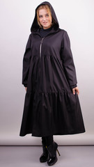 Аннет. Модный плащ для пышных женщин. Черный.
