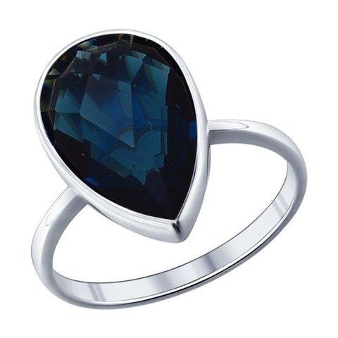 94011522- Кольцо из серебра с каплевидной вставкой цвета морской волны