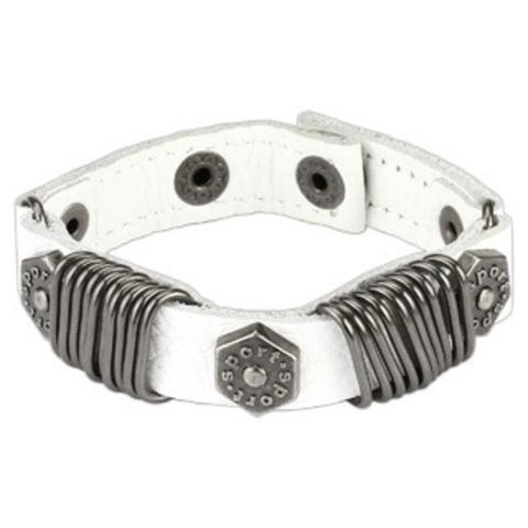 Мужской браслет из натуральной кожи SPIKES SL0118-WH+