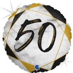 Г Круг 50 Цифра, Мрамор Черный, Голография, 18