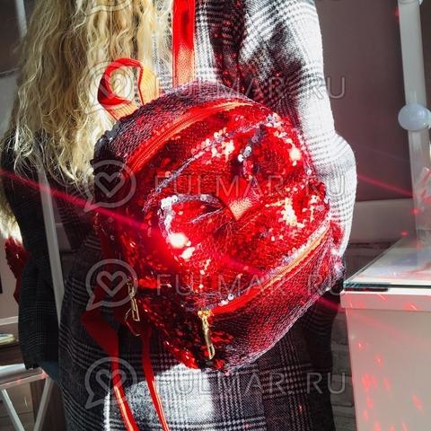 Рюкзак с пайетками и Бантом меняет цвет Красный-Серебристый