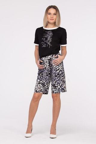 Фото прямые летние шорты с карманами и анималистичным принтом - Брюки А502-141 (1)