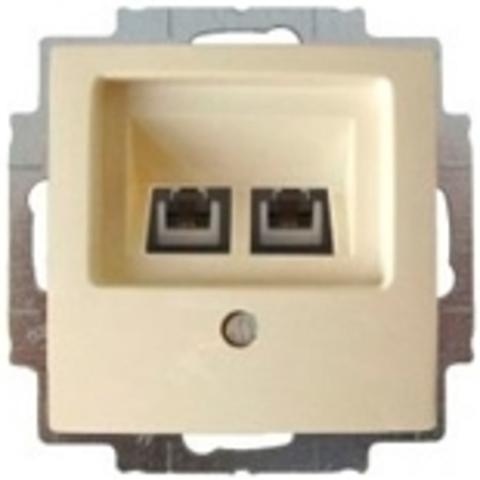 Розетка телефонная двойная RJ11x2. Цвет слоновая кость. ABB Basic 55. 1753-0-0097+130 104 21
