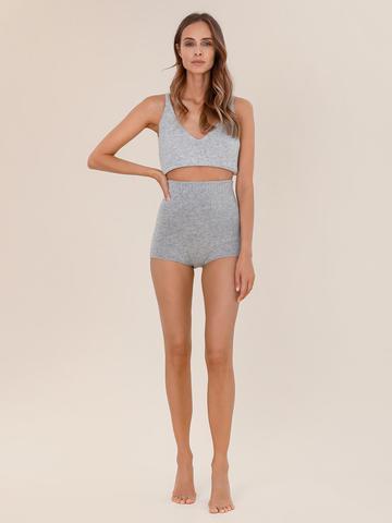 Женские шорты светло-серого цвета из 100% кашемира - фото 2