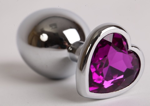 Анальная пробка сердечком с фиолетовым стразом 8х3,5см 47143-1-MM