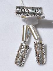 Вязь(кольцо + серьги из серебра)