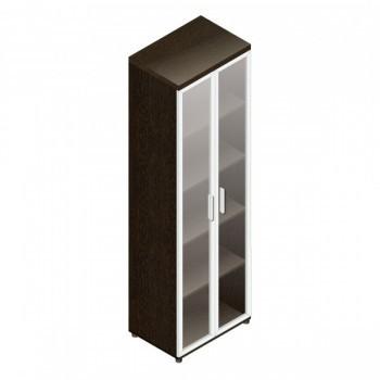 Шкаф для документов со стеклом прозрачным С.Ш-3СБА (венге), ЛДСП, Альтерна
