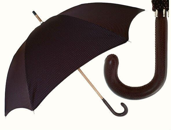 Зонт-трость Pasotti-142-Punto-Brown Leather Handle