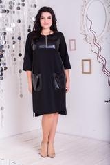 Эмма. Стильное платье с эко-кожей плюс сайз. Черный