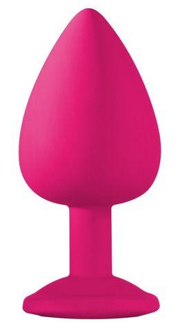 Большая розовая анальная пробка Emotions Cutie Large с фиолетовым кристаллом - 10 см.