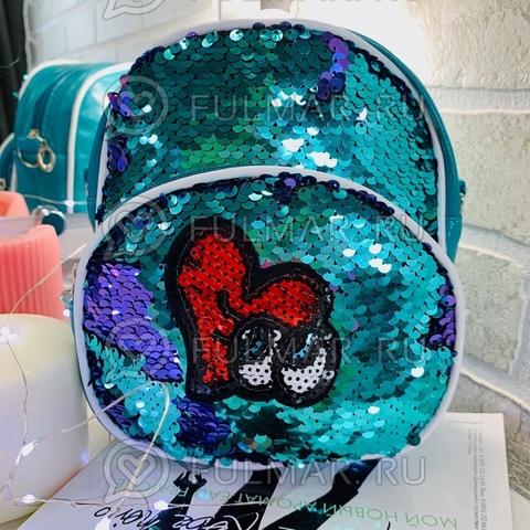 Рюкзак-сумка детский бирюзовый Трансформер с нашивкой в пайетках Бирюзовый-Лиловый