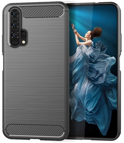 Чехол Honor 20 (Honor 20S, 20 Pro, Huawei Nova 5T) цвет Gray (серый), серия Carbon, Caseport