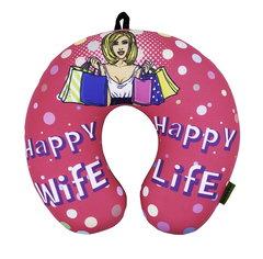 Подушка-подголовник «Happy Wife», розовая 1
