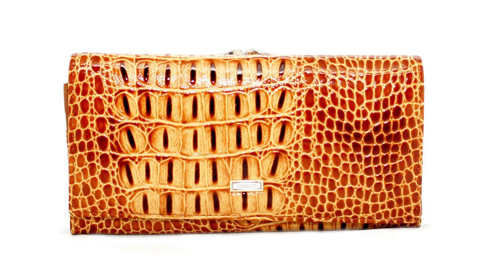 Жёлтый кошелёк женский лаковый Coscet нат.кожа CS21-101F