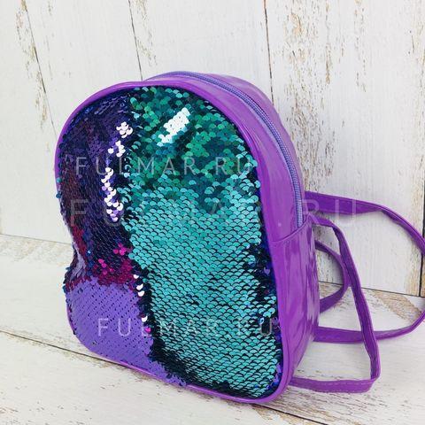 Рюкзак-сумка Трансформер с пайетками меняющие цвет Фиолетово-Бирюзовый
