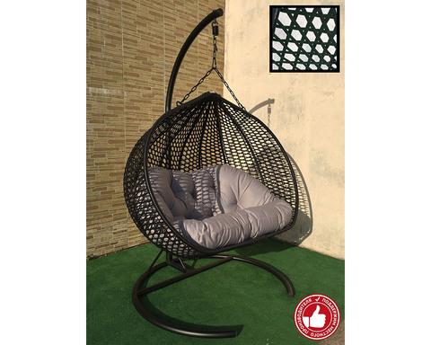 Двухместное подвесное кресло Сомбрерро Cross черное
