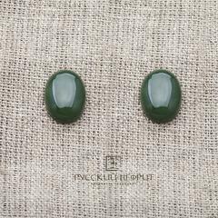 Кабошон овальный 16мм х 12мм. Зелёный нефрит (класс моде).