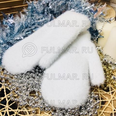 Варежки женские зимние пушистые (цвет: Белоснежный)