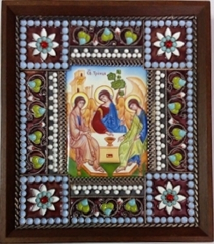 Икона финифть  Святая Троица