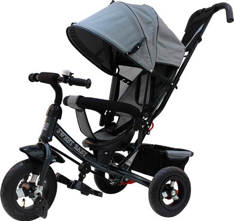 Детский трёхколёсный велосипед с ручкой ( серый ) Sweet baby - колёса надувные