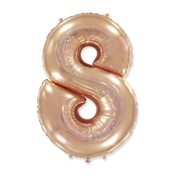Фольгированная цифра 8, розовое золото