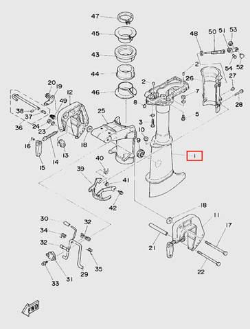 Корпус дейдвуда  для лодочного мотора T5 Sea-PRO (10-1)