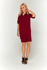 Бордовое платье-рубашка
