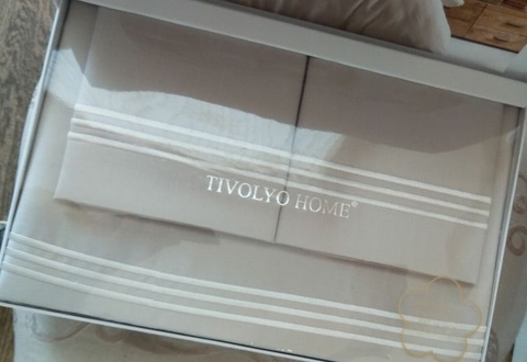 Постельное белье LINE NAKISLI  бежевый deluxe TIVOLYO HOME Турция