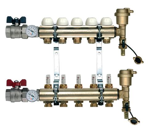 Коллектор Tiemme 1х3/4 ЕК-6 с расходомерами (на шесть контуров) для теплого пола