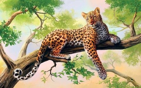 Алмазная Мозаика + Багет 40x50 Тигрица на дереве