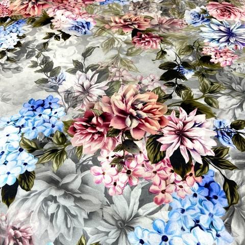 Ткань шелк матовый с эластаном розовые и голубые цветы 1089