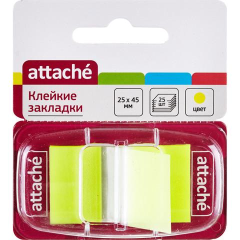 Клейкие закладки пласт. 1цв.по 25л. 25ммх45 желт Attache