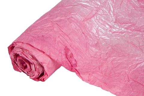 Бумага жатая эколюкс 70см х 5м  розовая/серебро 07S