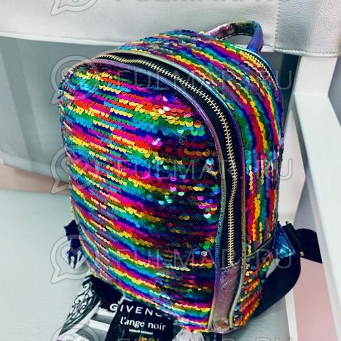 Рюкзак с пайетками меняющий цвет Радужный-Серебристый и брелок Единорог Mila