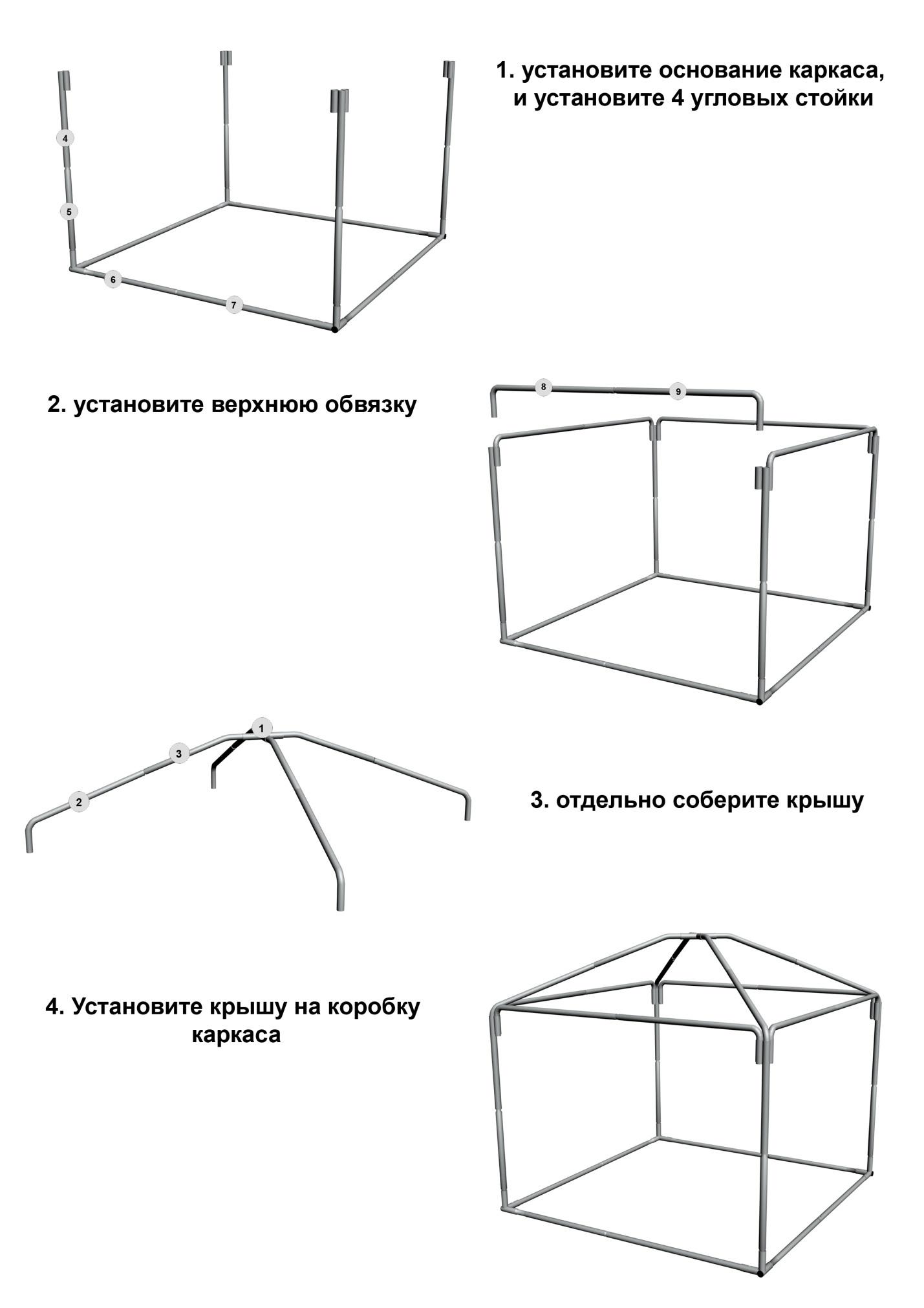 Схема сборки шатра Митек Пикник-Люкс 3,0Х3,0 Ø25 мм
