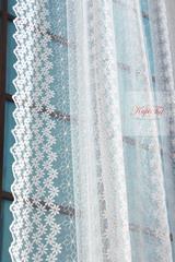 Тюль сетка с вышивкой Ромашки-T (молочный)
