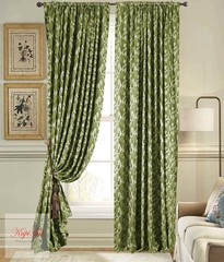 Длинные шторы. Вензель (оливковый). Плотные шторы жаккард.